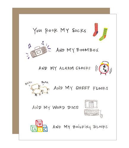 You Rock My Socks Card (6 singles)