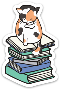 Bookish Kitty Sticker (6 singles)