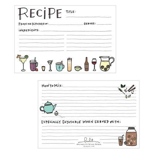 Sips & Spirits Recipe Card Set (3 sets of 12)
