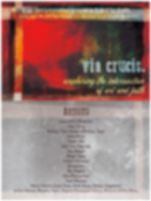 Flyer Graphic: Via Crucis. Exploring the intersection of art and faith. List of featured artists.
