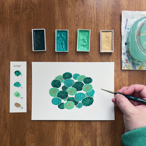 Kimberly painting abstract lily pads