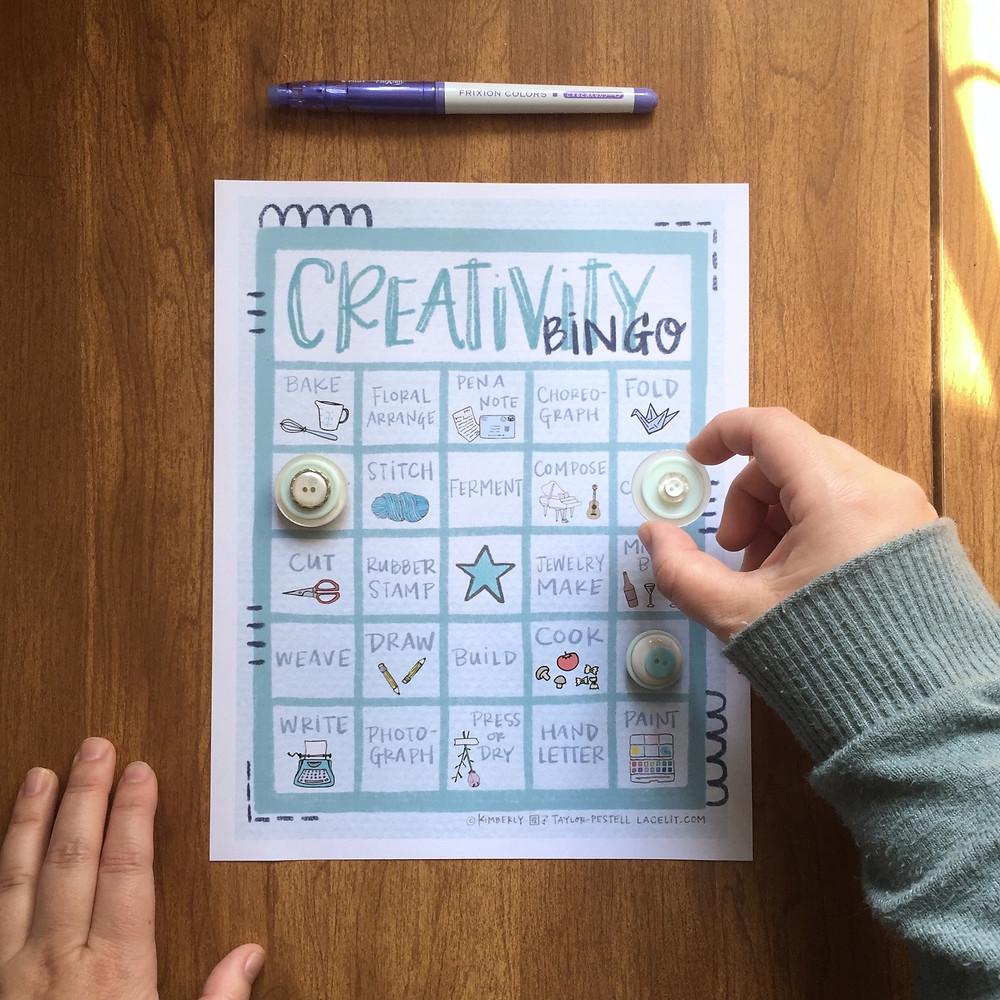 Kimberly's Creativity Bingo game sheet