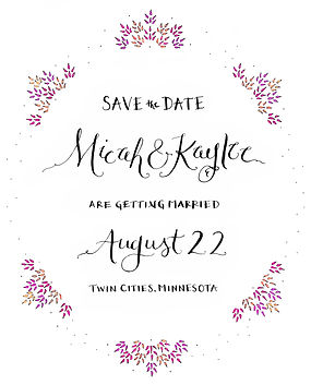 Image of a custom wedding Save-the-Date.