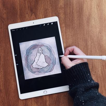 Kimberly illustrating on iPad