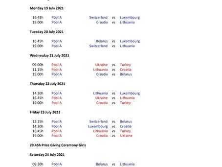 EuroHockey Championship in Zagreb, 19-24 July - The match schedule