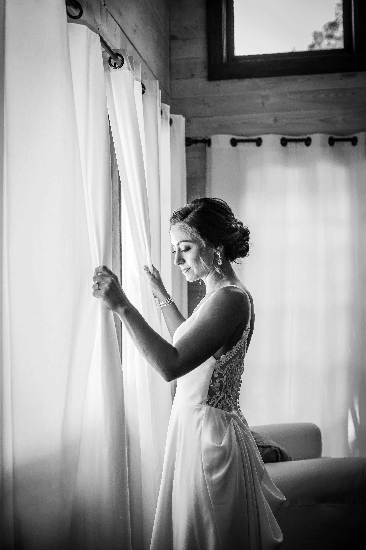 bridal portrait getting ready dress