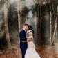 moody smoke bomb wedding portrait