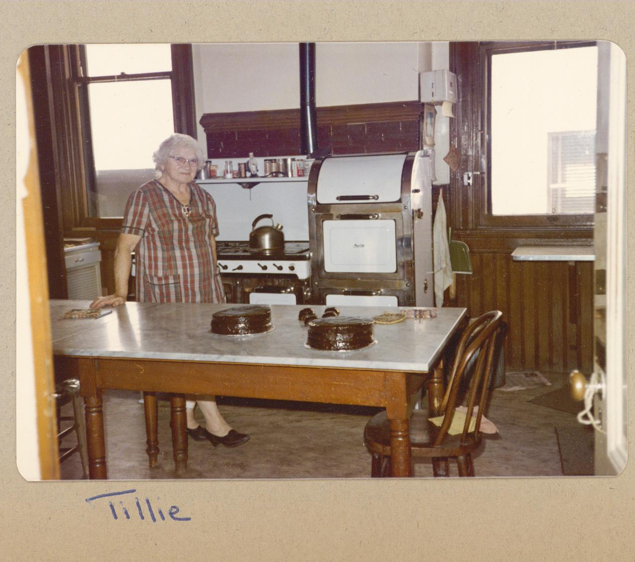 Tillie in HLH kitchen, 1972