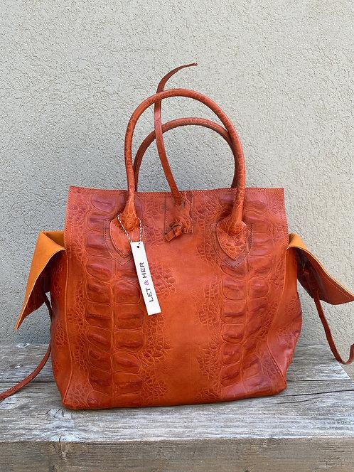 MEDIUM BAG  Alligator Print Orange