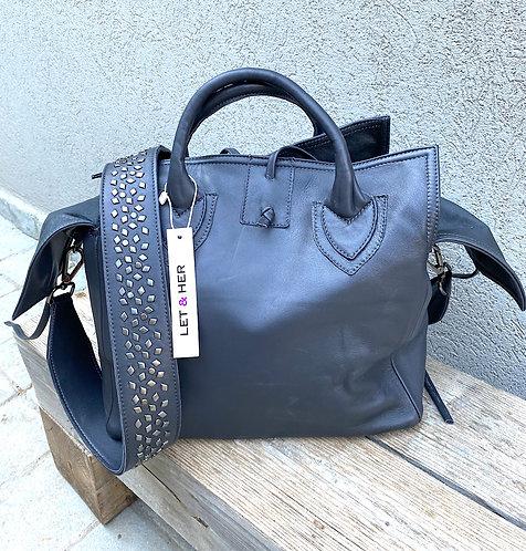 MID-SIZE BAG  Grey Studded