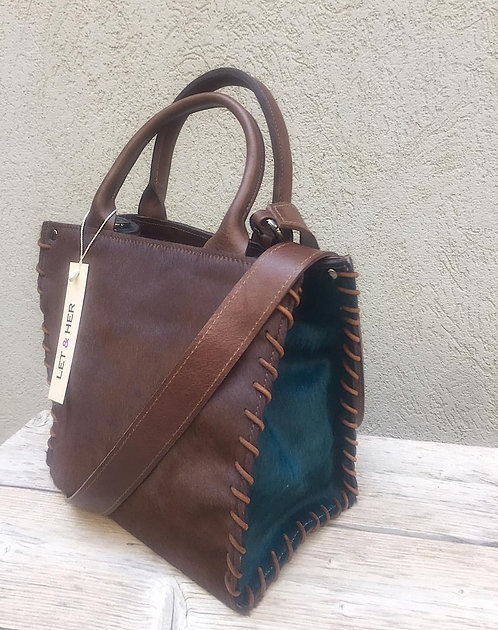AZTEC SMALL CROSSBODY  Brown Pony Green Blue