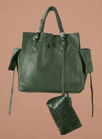 OLIVE FULL GRAIN , POUCH EMBOSSED GROCO