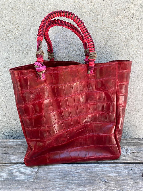 PROVENCE  square bordeaux croc with knotted rope