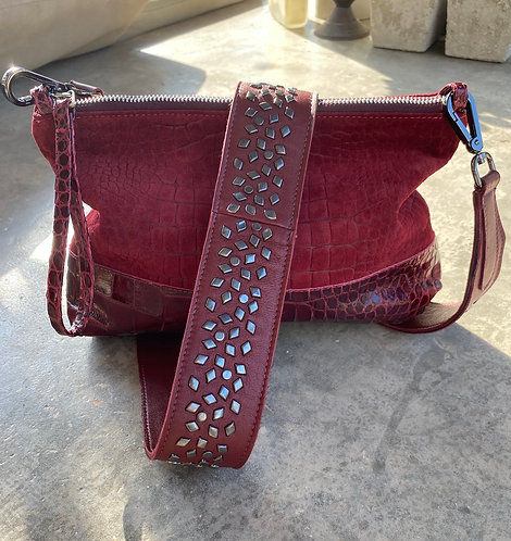 POUCH  Croc Suede Studded Strap