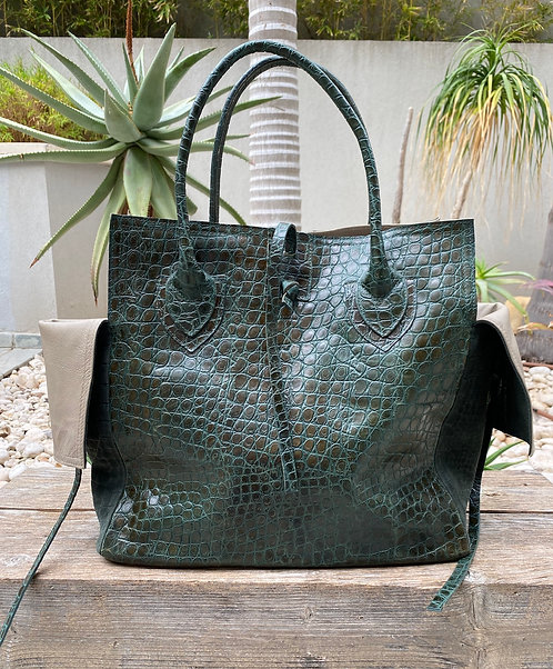 MEDIUM BAG   Green Croc Embossed Suede