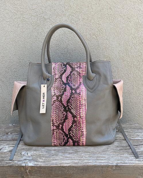 MEDIUM BAG  Grey Pink Stripe Snake