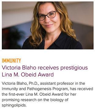 Victoria Blaho awarded the Lina Obeid Award