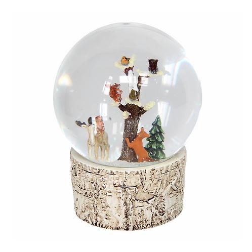 Large Snow Globe 14cm - Woodland Animals/Bark
