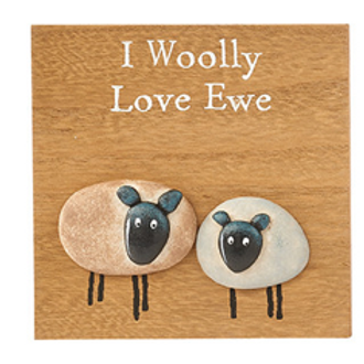 Sheep Pebble Plaque-Love Ewe