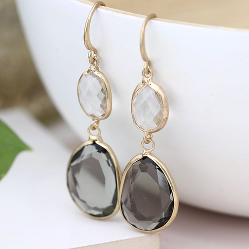 Gold plated smoky and clear crystal drop earrings