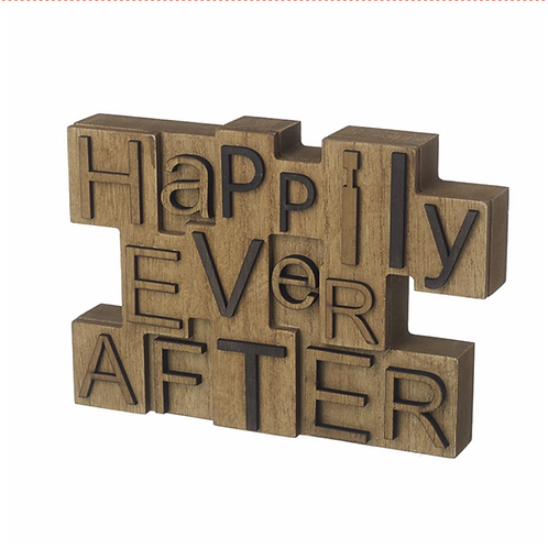 Happily Ever After Wooden Block Sign