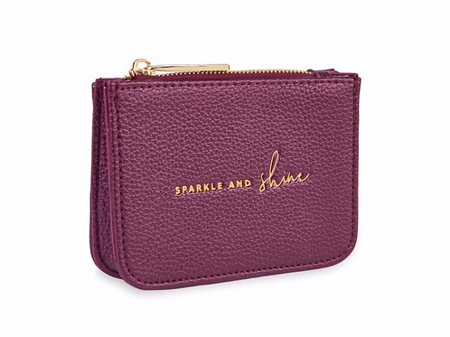 STYLISH STRUCTURED COIN PURSE   SPARKLE AND SHINE   METALLIC BERRY