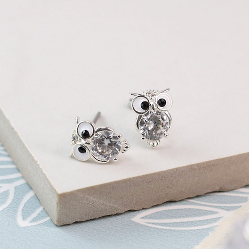Silver Plated Crystal Owl Stud Earrings
