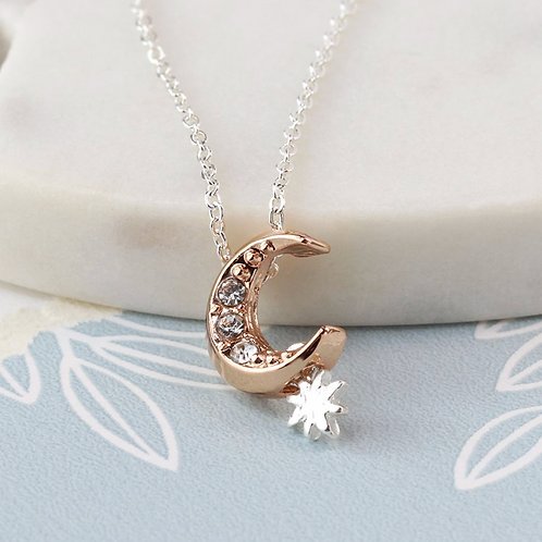 Rose Gold Crystal Moon And Star Necklace