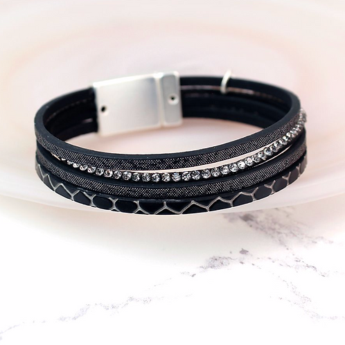 Black Embossed Leather Crystal Bracelet