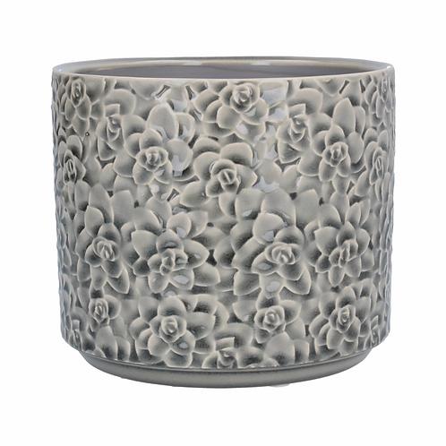 Ceramic Pot Cover Sml - Grey Succulents
