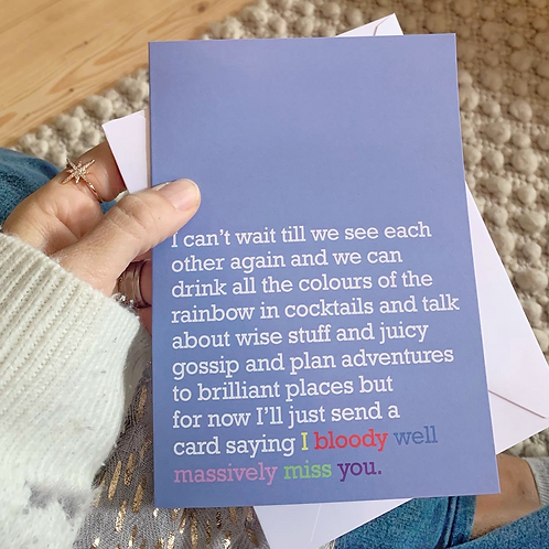 'MASSIVELY MISS YOU' CARD FOR LOVED ONES