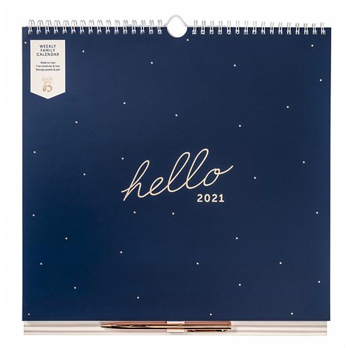 Weekly Family Calendar 2021 Navy