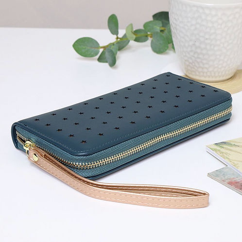 Blue purse with rose gold star