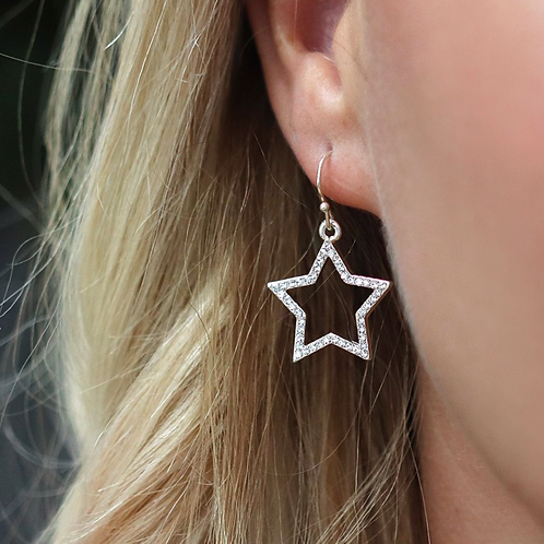 Silver Plated Crystal Star Drop Earrings
