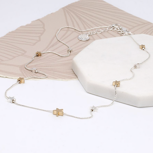 Silver and gold plated star necklace with a fine chain