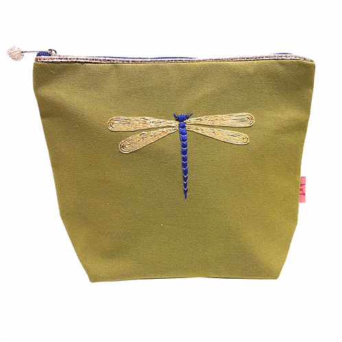 Embroidered Dragonfly Large Cosmetic Purse-Olive
