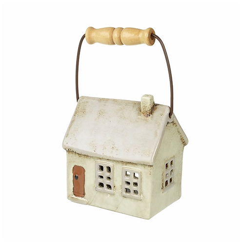 Beige Ceramic House Candle Holder W/Handle