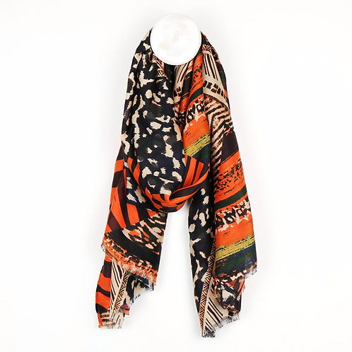 Orange mix scarf with multiple animal prints