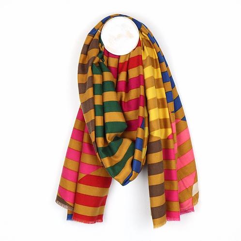Mustard, pink and bright yellow circle stripe scarf