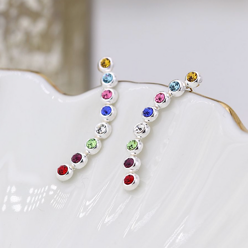 Sterling silver earlines with rainbow bezel set crystals