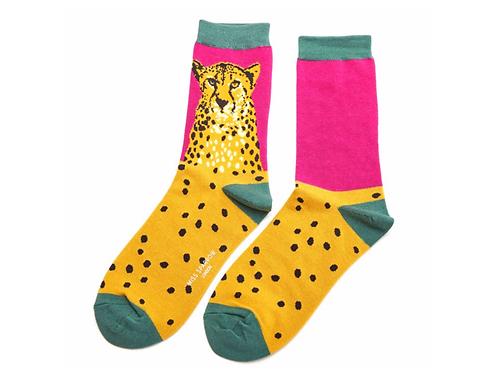 Wild Cheetah Socks Hot Pink