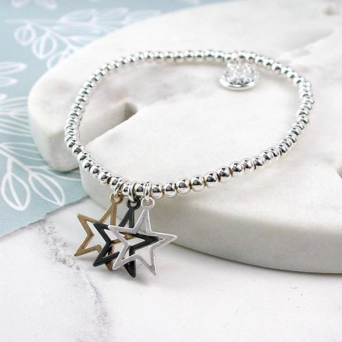 Triple Star Mixed Finish Bracelet