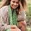 Thumbnail: Recycled green mix daisy print scarf