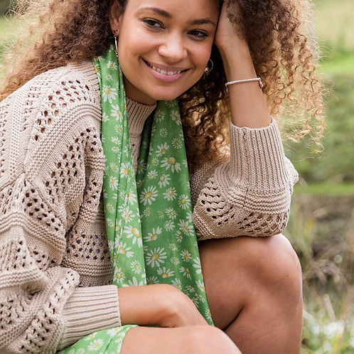 Recycled green mix daisy print scarf