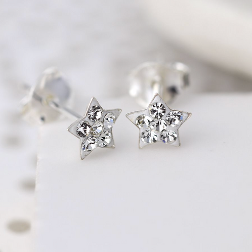 Sterling silver clear crystal star earrings