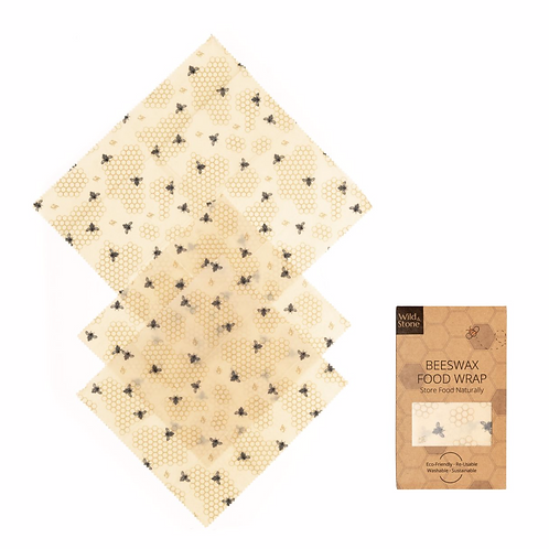 Beeswax Food Wraps – Honeycomb Pattern – 3 Pack (2x Medium, 1x Large)