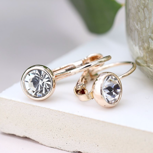 Rose gold plated and clear crystal drop earrings