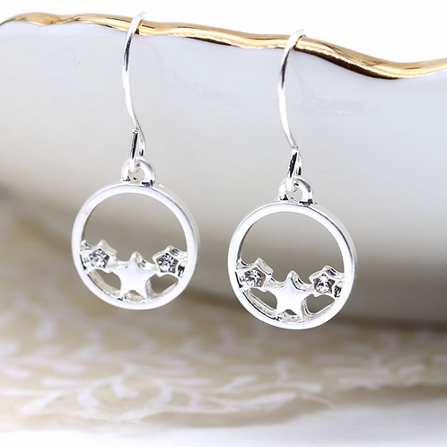 Silver plated circle, stars and crystal earrings