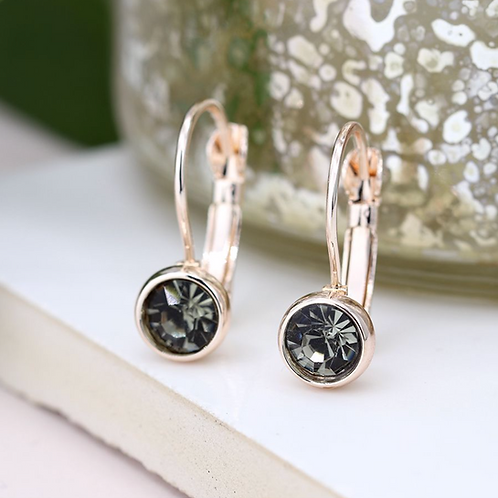 Rose gold plated and smoky crystal drop earrings