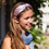 Thumbnail: Pink and grey silky headband with blue dot print